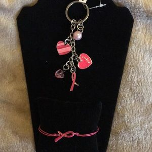 Avon BC Crusade Keychain With Charms and  Crusade Ribbon Cord Bracelet